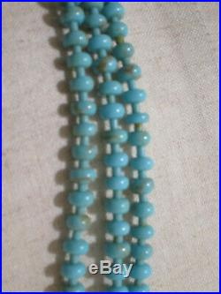 Gorgeous 3 Strand NAVAJO Sterling Findings & Turquoise Heishi NECKLACE 28L