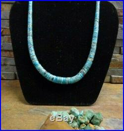 Gorgeous Navajo Silver Blue Heishi Turquoise Necklace Native Old Pawn Harvey Era