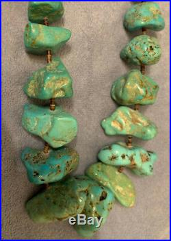 Gorgeous Navajo Turquoise Tumbled Cerrillos Huge Nugget Heishi Necklace 30
