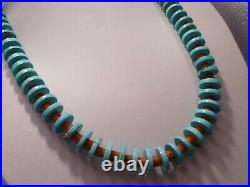 Gorgeous Santos Domingo Red Coral Morenci Turquoise Beads Heishi Necklace Native