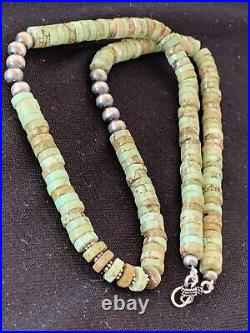 Green Turquoise Heishi Sterling Silver Necklace Navajo Pearls Stab 8mm 20 969
