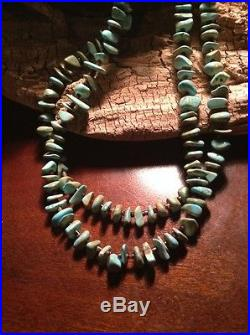 Green Turquoise Nugget & Pin Shell Heishi Necklace Handstrung By M. Vandever