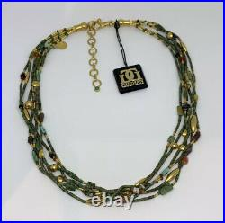 Gurhan 24k Gold 6 Strand Turquoise Carnelian Heishi Bead Clasp Hammered Necklace