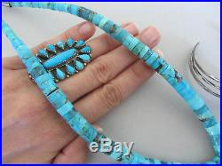 HUGE 2 7/16th Carved Feather Spiderweb Turquoise Heishi Navajo 20 3/8 Necklace