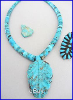 HUGE 2 7/16th Vintage Carved Spiderweb Turquoise Heishi Navajo 20 3/8 Necklace