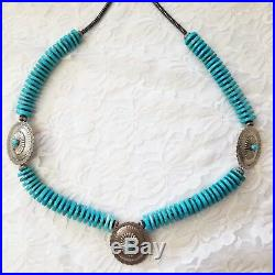 HUGE Native American Turquoise 16mm Heishi Sterling Silver Bead Necklace 174g
