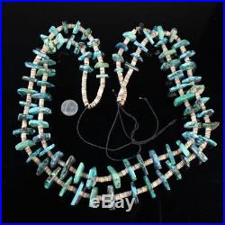 HUGE Navajo tribal TWO strand quality turquoise bead shell heishi necklace ol