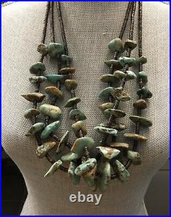 HUGH Vintage Native American Turquoise Heishi 3 Strand Necklace Squaw Wrap