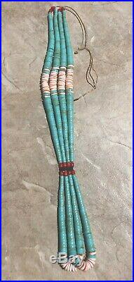 Handmade Santo Domingo Heishi/Jacla Turquoise Spiny Oyster Red Coral Necklace