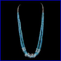 Handmade Two Strand Navajo Old Pawn Graduated Turquoise and Shell 28' Necklace
