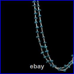 Handmade Two Strand Navajo Old Pawn Natural Turquoise Heishi Shell 26' Necklace