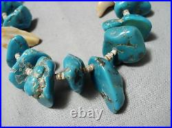 Heavy Crazy Chunky Vintage Navajo Turquoise Heishi Necklace Old