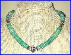 Heavy Green-Blue Turquoise Disc Heishi & Sterling Silver Choker/Necklace 16