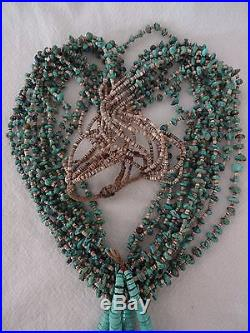 Heavy Old NAVAJO 10-Strand TURQUOISE Heishi NECKLACE with JACLA Joclas, 12oz