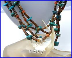 Heishi Bead Necklace with Turquoise Coral Carved Birds Mother of Pearl Vintage
