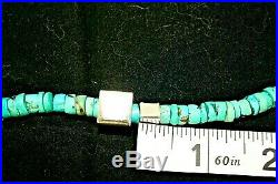 Heishi Royston Turquoise And Sterling Silver Stamped Box Beads Necklace