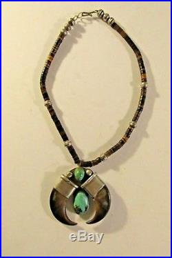 Heishi bead sterling silver turquoise bear claw Naja 16 1/2 Indian necklace