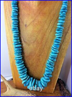High Grade SLEEPING BEAUTY Turquoise Nugget Necklace with Heishi
