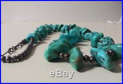 Huge Antique Bench Bead & Turquoise Heishi Necklace Old Pawn Sterling Silver lot