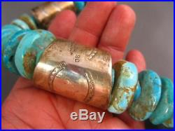 Huge Santo Domingo Sterling Natural Turquoise Bead Heishi Necklace 300 Grams