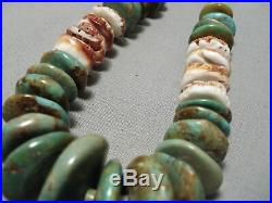 Huge Vintage Navajo Royston Turquoise Sterling Silver Heishi Necklace