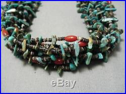 Important Navajo Expert Weave Turquoise Coral Heishi Necklace