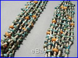 Important Navajo Green Turquoise Orange Coral Heishi Necklace