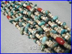 Important Navajo Rye Whitegoat Turquoise Coral Heishi Native American Necklace