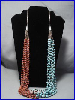 Important Yazzie Navajo Turquoise Sterling Silver Necklace Heishi Jewelry