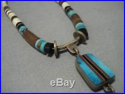 Incfredible! Vintage Navajo Turquoise Sterling Silver Jacla Heishi Necklace