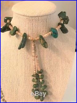 Incredible! Old Pawn Vintage Navajo Chunk Green Turquoise withHeishi Necklace 85g