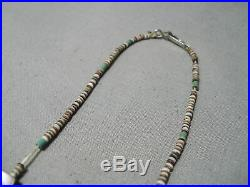 Incredible Vintage Navajo Heishi Turquoise Long Shell Sterling Silver Necklace