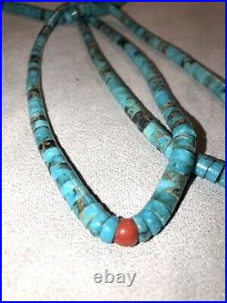 Indian Vintage Santo Domingo Turquoise Red Coral Jacla Necklace Twine/Rope