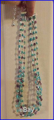 JAY KING Sterling Silver 6-Strand TURQUOISE & AMETHYST Heishi Bead Necklace