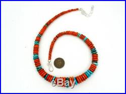 Jay King Heishi Bead Necklace With Orange Coral Blue Turquoise Sterling Silver