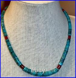 Jay King Seven Peaks Turquoise and Red Coral Heishi Bead 18 Necklace