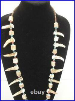 KEWA Santo Domingo Necklace Heishi Carved Deer Antler Tips Beads Coral Turquoise