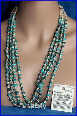LG Vintage Navajo Vivid Turquoise Heishi Bead 29 PAWN TICKET Necklace 146 Gram