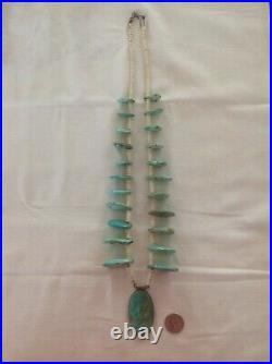 Large David Taliman Navajo sterling silver turquoise heishi tab necklace, signed