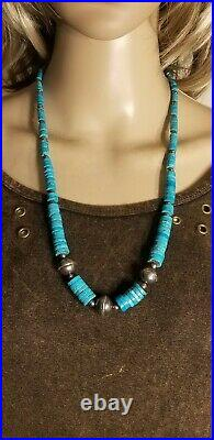 Large Turquoise Heishi Sterling Silver Navajo Pearls Necklace 25 Inches