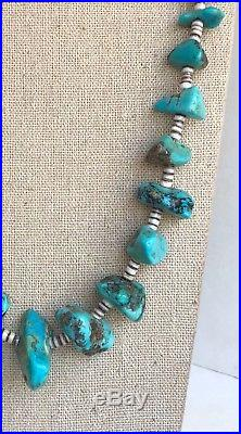 Large Vintage Native American Turquoise Nugget Heishi Bead Necklace 28