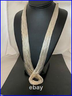Liquid Silver Heishi 100 St Sterling Silver Tubes Necklace 4636 Gift Sale 30in