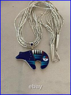 Liquid Silver Heishi 10S Sterling Silver Turquoise Necklace Bear Pendant 3171