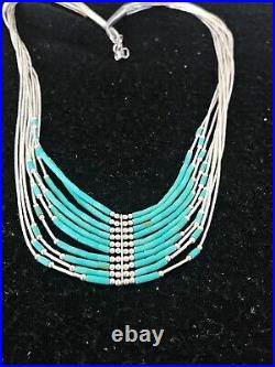 Liquid Silver Heishi 10 St Sterling Silver Tubes Necklace Pendant Turquoise 8557