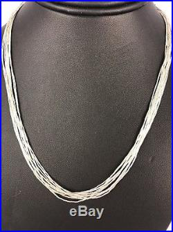 Liquid Silver Heishi 10 Strands Sterling Silver Necklace 18 Old Pawn
