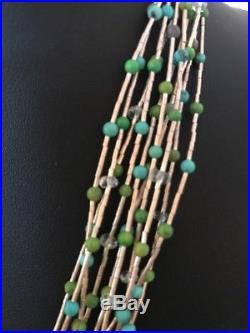 Liquid Silver Heishi 10 Strands Sterling Silver Turquoise Necklace 17