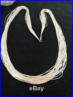 Liquid Silver Heishi 30 Strands Sterling Silver Necklace 28 Silver tubes S1021