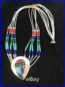 Liquid Silver Heishi 5Str Sterling Silver Necklace Pendant Turquoise Coral T1011