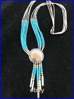 Liquid Silver Heishi 5 St Sterling Silver Tubes Necklace Pendant Turquoise 1012