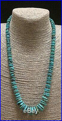 Long Santo Domingo Sterling Silver Turquoise Heishi Disk Bead Necklace 23 In